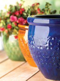Jewel-Tone Flower Pot Trio - Distinctive Merchandise