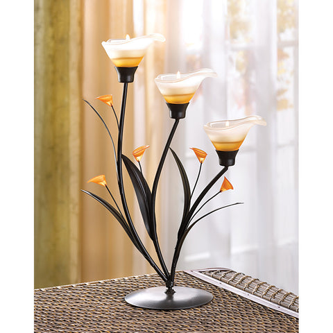 AMBER LILIES TEALIGHT HOLDER - Distinctive Merchandise