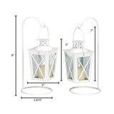 White Railroad Candle Lanterns - Distinctive Merchandise