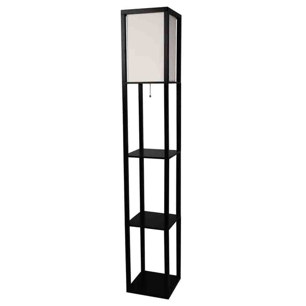 Black 3-Shelf Modern Floor Lamp with Beige Linen Shade - Distinctive Merchandise