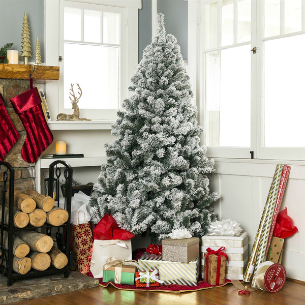 7.5 Foot Easy Set Up Snow Flocked Faux Pine Christmas Tree with Metal Stand