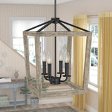 4 Light Lantern Adjustable Dimmable Square/Rectangle Chandelier - Distinctive Merchandise