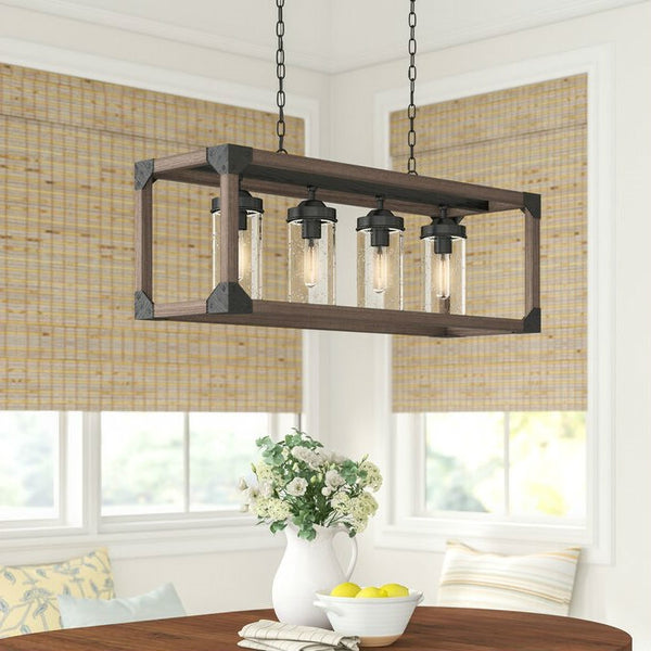 4 Light Adjustable Dimmable Rectangle Chandelier with Wrought Iron Accents - Distinctive Merchandise