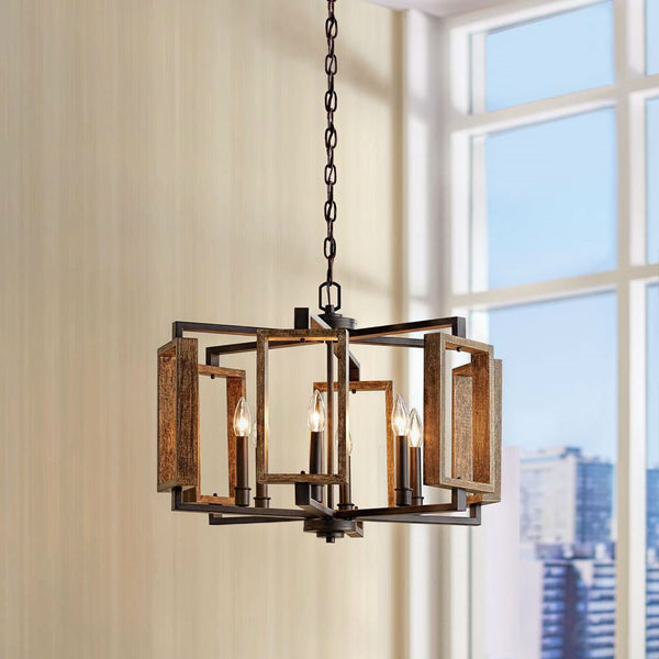 6-Light Dimmable Aged Bronze Farmhouse Pendant with Wood Accents Chandelier