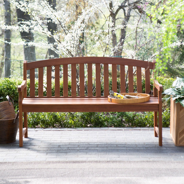 Curved Back 4-Ft Outdoor Garden Bench with Arm-Rests in Natural Wood Finish - Distinctive Merchandise