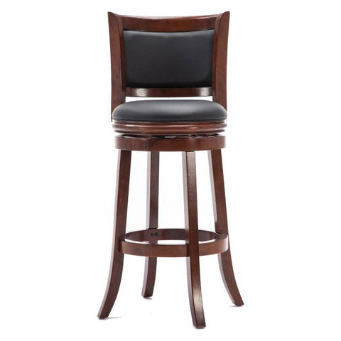 Cherry 29-inch Solid Wood Bar Stool with Faux Leather Swivel Seat - Distinctive Merchandise