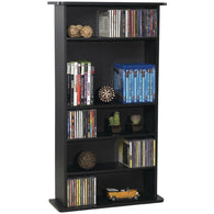 Black Media Storage Cabinet Bookcase with Adjustable Shelves - Distinctive Merchandise
