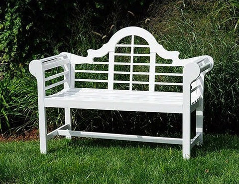 Outdoor Lattice Back Garden Bench in White Wood Finish - Distinctive Merchandise