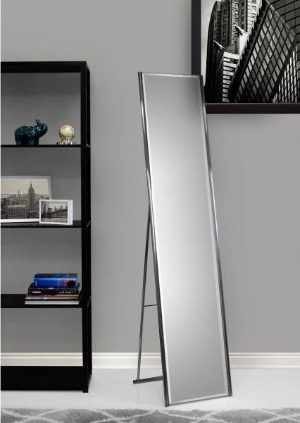 Modern Free-Standing Floor Mirror in Champagne Steel Finish