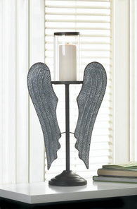 ANGEL WINGS FARMHOUSE CANDLE HOLDER - Distinctive Merchandise