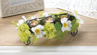 BLOOMING FAUX DAISY CANDLEHOLDER - Distinctive Merchandise