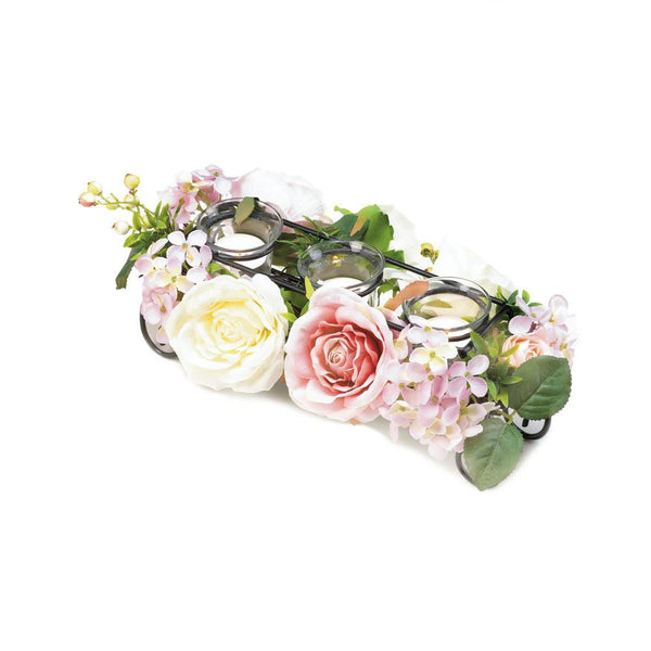 BLOOMING FAUX FLORAL CANDLEHOLDER - Distinctive Merchandise