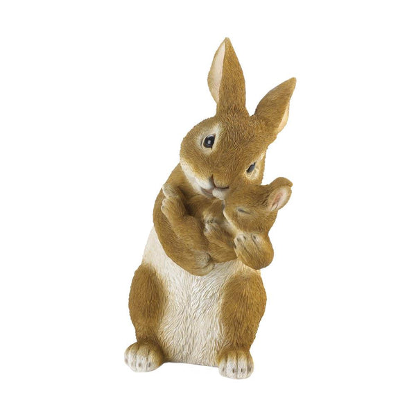 BONDING TIME MOM AND BABY RABBIT FIGURINE