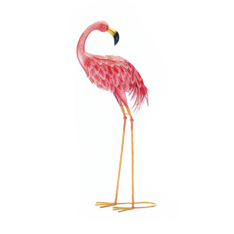 BRIGHT STANDING FLAMINGO LOOKING BACK