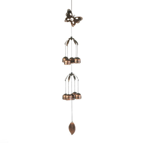 BUTTERFLY DOUBLE TIER BELL WIND CHIMES - Distinctive Merchandise