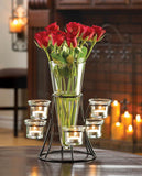 CIRCULAR CANDLE STAND WITH VASE - Distinctive Merchandise