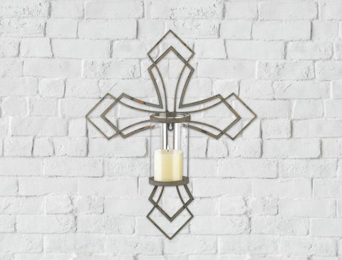Contemporary Cross Candle Wall Sconce - Distinctive Merchandise