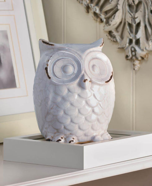 DISTRESSED WHITE OWL FIGURINE - Distinctive Merchandise