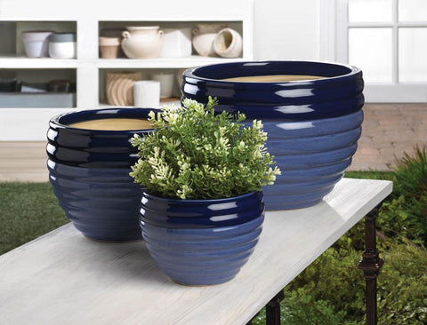 Duo Blue Tone Planter Trio - Distinctive Merchandise