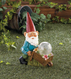 Gnome With Wheel Barrow Solar Statue - Distinctive Merchandise