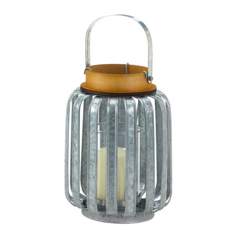 Large Galvanized Metal Lantern - Distinctive Merchandise