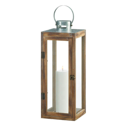 Large Metal Top Square Wood Lantern - Distinctive Merchandise