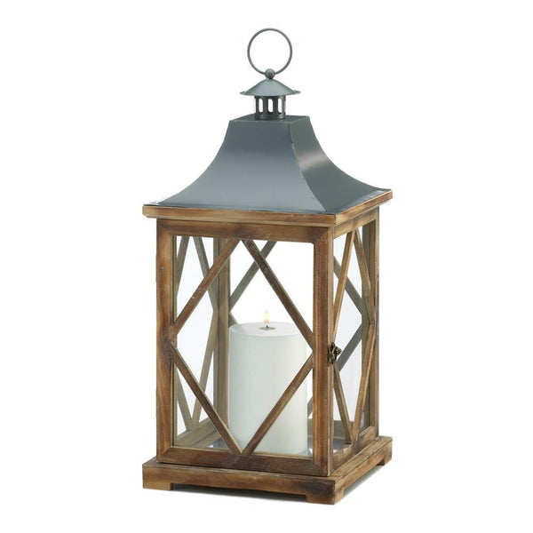 LARGE WOODEN DIAMOND LATTICE LANTERN