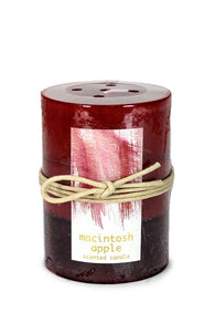 MACINTOSH APPLE PILLAR CANDLE 3X4 - Distinctive Merchandise
