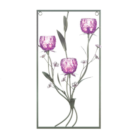 Magenta Flower Three Candle Wall Sconce - Distinctive Merchandise