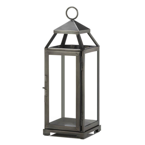 Medium Brushed Pewter Lantern - Distinctive Merchandise