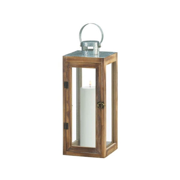 METAL TOP SQUARE WOOD LANTERN
