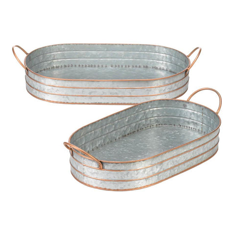 Oblong Galvanized Metal Tray Duo - Distinctive Merchandise