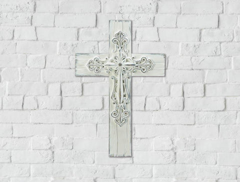 Ornate Whitewashed Cross - Distinctive Merchandise