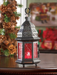 RED GLASS MOROCCAN LANTERN - Distinctive Merchandise