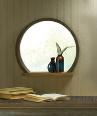 Round Wooden Mirror With Shelf - Distinctive Merchandise