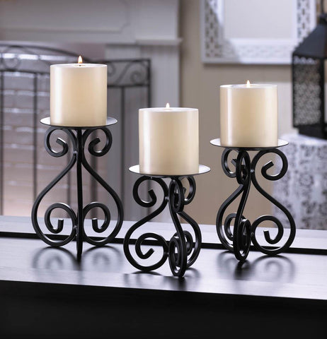 Scrollwork Candle Stand Trio - Distinctive Merchandise