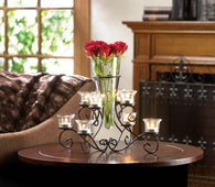 Scrollwork Candle Stand With Vase - Distinctive Merchandise