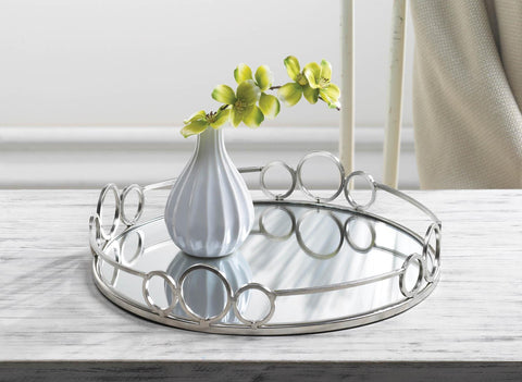 Silver Circles Mirrored Tray - Distinctive Merchandise
