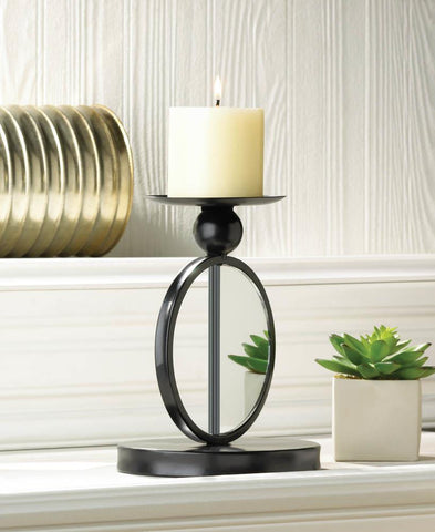SINGLE MIRRORED CANDLEHOLDER