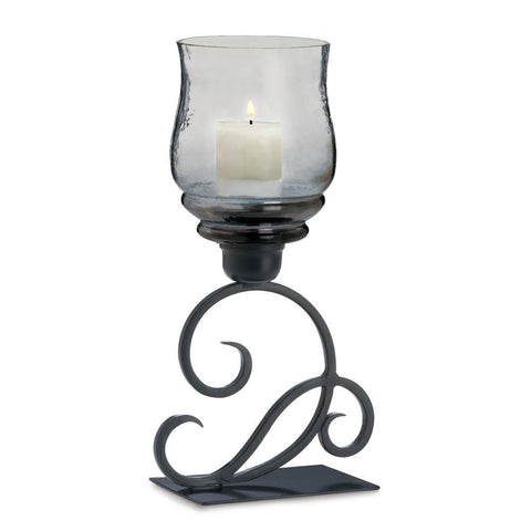 Smoked Glass Cursive Candle Stand - Distinctive Merchandise
