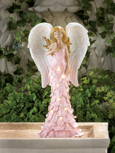 Solar Powered Pink Rose Angel Statue - Distinctive Merchandise