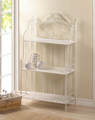 WHITE BASKET WEAVE BAKERS RACK - Distinctive Merchandise