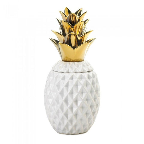 "13"" Gold Topped Pineapple Jar - Distinctive Merchandise"