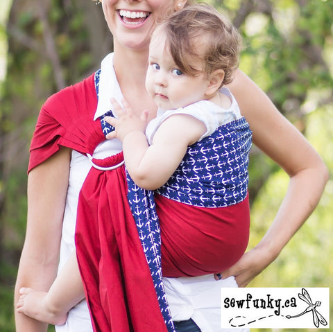 Sewfunky Designer Baby Sling Anchored in Love #SF007