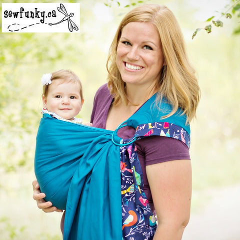 Sewfunky Designer Baby Sling Bluebird Teal #SF042 SOLD OUT