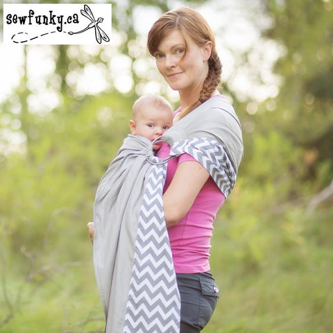Sewfunky Designer Baby Sling Chevron on Cloud Grey  #SF013