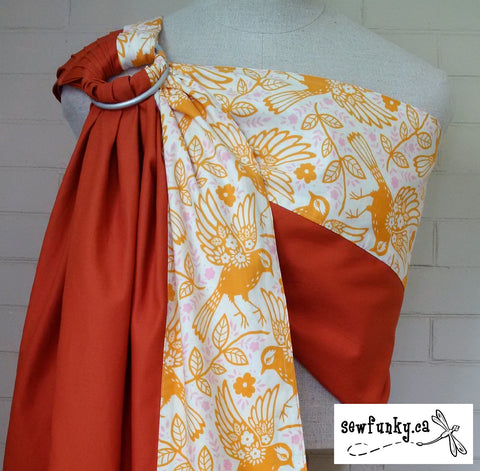 Sewfunky Designer Baby Sling Meadowlark on Sweet Potato Organic