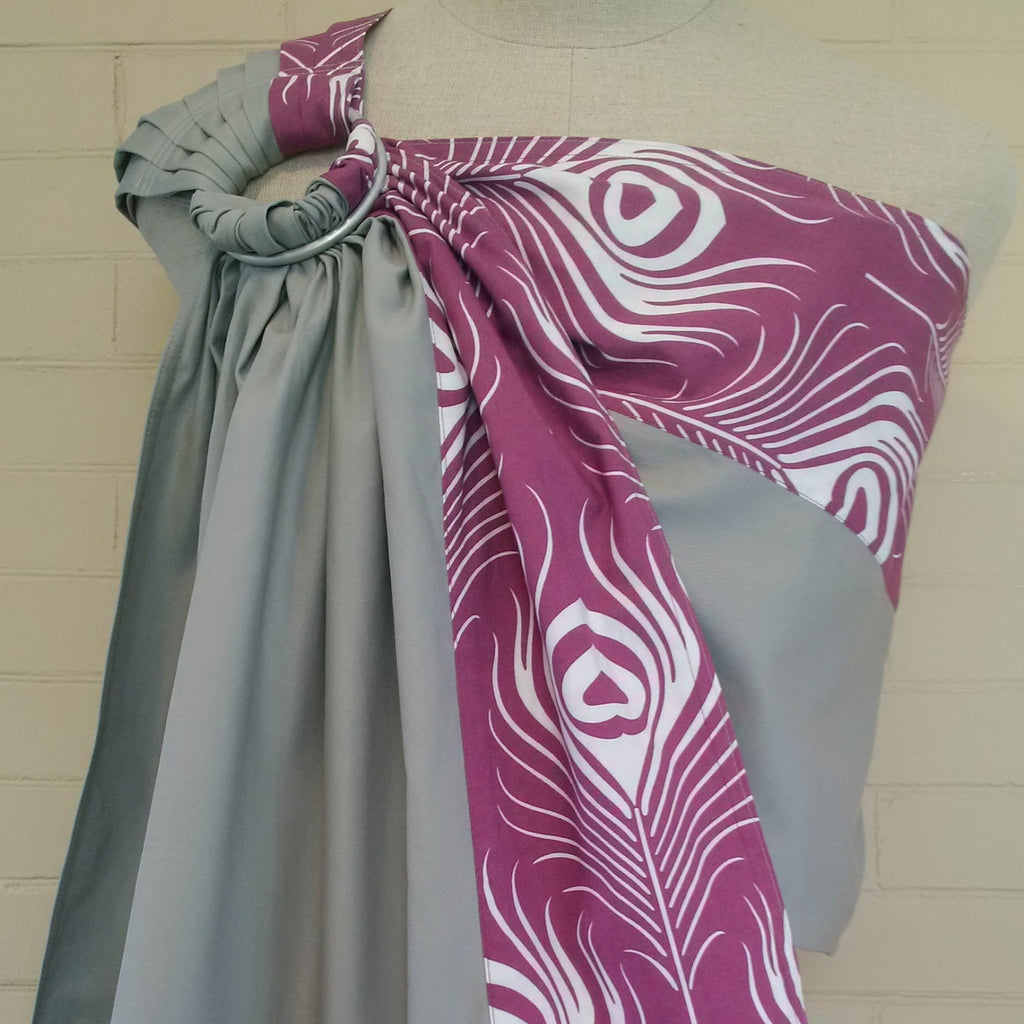 Sewfunky Designer Organic Baby Sling Plume on Cloud Grey #SF027