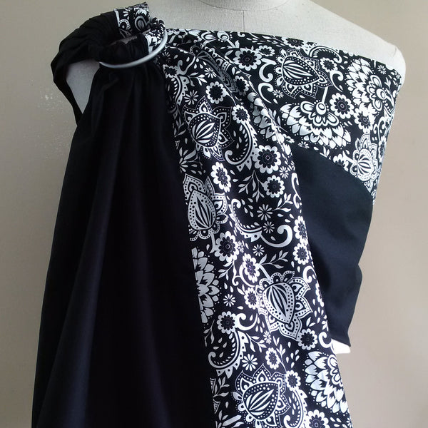 Sewfunky Designer Organic Baby Sling Night Blooms on Jet Black #SF024