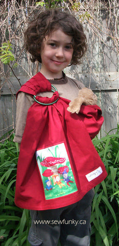 Sewfunky Toy Sling - Red Organic with Gnome Patch